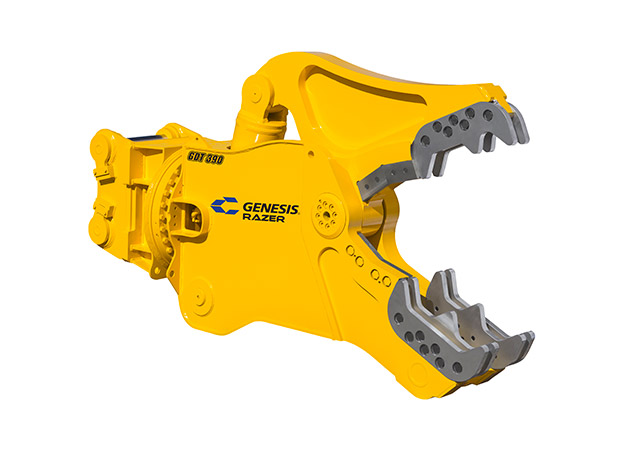 GDT (Genesis Razer Demolition Tool) attachment with open jaws facing right.
