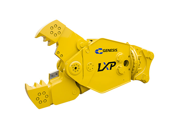Genesis LXP with Concrete Cracker Jaw attachment with open jaws facing left.